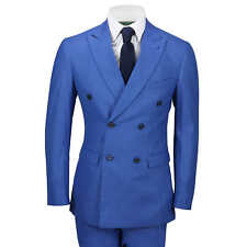Mens 3 Piece Double Breasted Suit Retro Vintage Royal Blue Check Tailored Fit