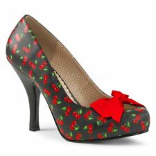Pleaser Pink Label PINUP-05 Platform Pump With Bow Black-Red Cherry Faux Leather
