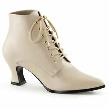 Funtasma by Pleaser VICTORIAN-35 Kitten Heel Front Lace Up Ankle Boot Cream