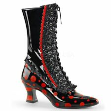 Funtasma VICTORIAN-122 Front Lace Up Mid-Calf Witch Boot Side Zip Black/Red