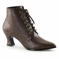 Funtasma by Pleaser VICTORIAN-35 Kitten Heel Front Lace Up Ankle Boot Brown