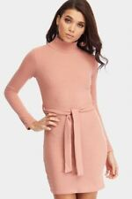 Ladies / Womens Dusky Pink Turtle Neck Ribbed Dress Clothing LOTD