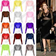 New Ladies Long Sleeve Mesh Insert Sheer See Through Crop Top T-Shirt Party Top