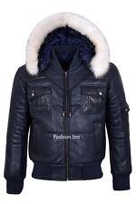 Mens Stylish Padded Puffer Navy Genuine Sheep Leather Real Fur Hooded Jacket