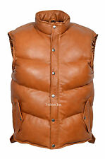 Mens Tan Padded Puffer Gillet Waistcoat Sleeveless Real Genuine Leather Jacket
