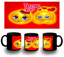 tazza NERA EMOTICON AMORE LOVE VALENTINO BLACK MUG tazza tazze E'