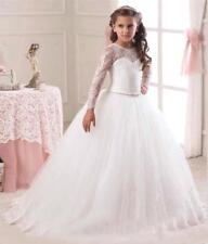 New Cute White Princess Wedding Girls Dress Tulle Bridesmaid Party Kids Clothes