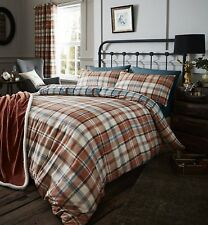 Catherine Lansfield Heritage Kelso Check Spice Blue Natural Country Bedding