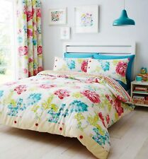 Catherine Lansfield Stab Stitch Floral Duvet Cover Bed Set Multi
