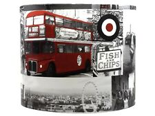 London Lampshade Ceiling Light Shade Bedroom Red Black Taxi Cab Vintage Britain