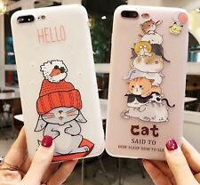 HUAWEI P8 P9 P10 Lite Honor 9 6X Soft Silicon Cartoon Cover Case 3D Cat Rabbit