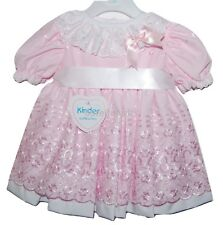 Stunning Baby Girls Spanish Style Pink/White Scalloped Broderie Anglaise Dress