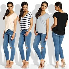 Women Short Sleeve T-Shirt Ladies Summer Casual Tops Blouse UK Size: Universal