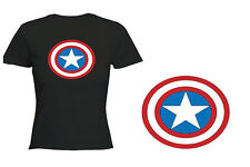 MAGLIETTA LOGO RETRO CAPTAIN AMERICA DONNA NERO tshirt custom IT