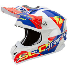 SCORPION vx-15 EVO AIR AKRA MOTOCICLETA CASCO CROSS - Blanco Rojo Azul