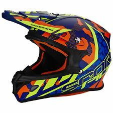SCORPION vx-21 AIR FURIO MOTO CASCO DA CROSS - ARANCIA BLU GIALLO FLUO