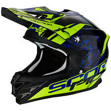 SCORPION VX-15 EVO AIR kistune MOTO CASCO DA CROSS - NERO BLU GIALLO FLUO