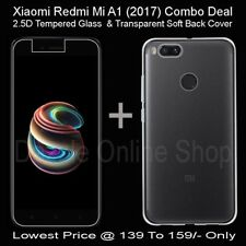 Combo Deal For Xiaomi Mi Redmi A1 Tempered Glass & Transparent Soft Back Cover