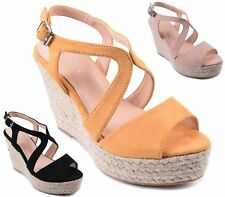WOMENS ESPADRILLES WEDGE HEEL CUT OUT OPEN TOE SHOES STRAPPY SUMMER SANDALS