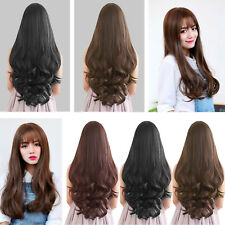 Fashion Womens Ladies long Wavy Fancy Hair Wig Natural Curly Straight Hair Wig