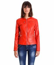 Giacca in pelle donna M890 • colore rosso • giacca biker in pelle trapuntata nap