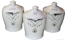 TEA SUGAR COFFEE CANISTER JAR STORAGE SET OF 3 WITH SPARKLING CRYSTAL DIAMANTE