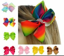 JO LARGE MEDIUM GIRLS HAIR BOWS CLIPS GROSGRAIN RIBBON RAINBOW GLITTER FASHION