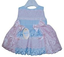 Stunning Baby Girls Spanish Style Blue/Pink Broderie Anglaise Border Bow Dress