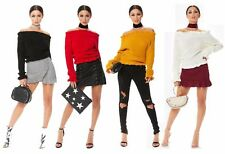 Women's Ruffle Frill Bardot Off the Shoulder Ribbed Long Sleeve Cropped Jumper