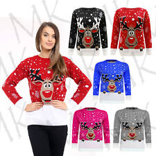 Women's Knitted Reindeer Christmas Ladies Kids Plus Size Chunky Jumper Sweater