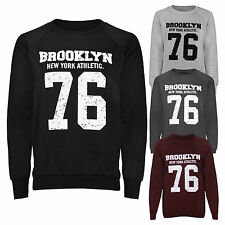 Women's BROOKLYN 76 NEW YORK ATHLETIC Print Varsity Sweatshirt Jumper Top 8-14