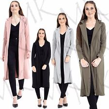 Womens Long Sleeve Long Line Collared Duster Ladies Coat Jacket Top Size UK 8-14