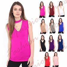 Womens Choker V Neck Sleeveless Collar Cut Out Plunge Blouse Shirt Vest Top Tee