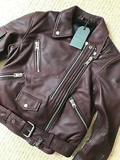 "ALL SAINTS BORDEAUX RED ""HARLAND"" LEATHER BIKER JACKET - UK 8 - NEW & TAGS"