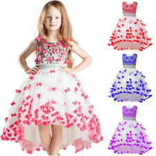 New Sequin Wedding Hi-low Girls Dress Princess Bridesmaid Party Kids Clothes