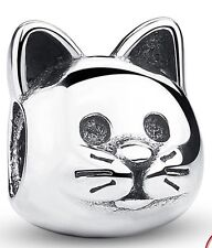 Cat face genuine sterling silver 925 charm fits European bracelets ideal gift