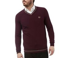 NEW Mens FRED PERRY Tipped Merino V Neck Sweater Jumper S, M, L