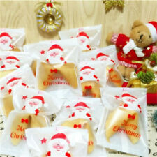 100Pcs Christmas Snowflake Cellophane Party Cookie Candy Biscuits Gift Bags