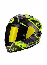 CASCO MOTO INTEGRALE FIBRA SCORPION EXO 2000 AIR BRUTUS NERO GIALLO FLUO
