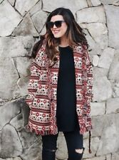 ZARA MULTICOLORED RED FRINGED JACKET COAT WITH BELT BNWT SIZE S&M  Ref 5216/243