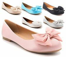 WOMENS FLAT LARGE SATIN BOW PUMPS LADIES BALLET BALLERINA DOLLY WORK SHOES SIZE