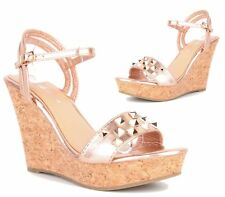WOMENS LADIES CORK WEDGE HEEL STRAPPY SHOES PEEP TOE STUDDED ROSE GOLD SANDALS