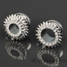 1,6 - 12 mm Tunnel Piercing Plug d'oreille FAUX BOUCHON Zircon Pointes Spikes