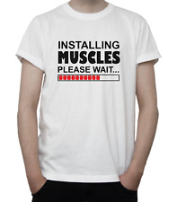 INSTALLING MUSCLES T-Shirt FUNNY Design GYM Junkie SPORTS Athlete GREY White
