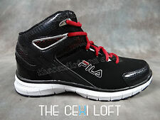 Mens FILA BIG BANG Basketball Shoes Sneakers in Black on Black Red Laces