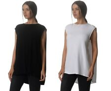 Kit and Ace Black White Brushed Cape Long Tunic Top Tee with Cashmere NWT $140