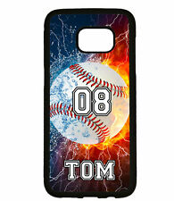 PERSONALIZED NAME NUMBER FIRE BASEBALL PHONE Case For Samsung Galaxy S