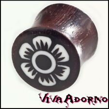 6-14mm PLUG Flesh Tunnel Madera Flor Flores Hippie Joyas Naturales Piercing