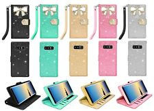 For Samsung Galaxy Note 8 Bling Diamonds Crystal Leather Flip Wallet C