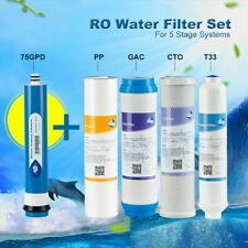 5 pcs Water Filters fits 5 Stage Reverse Osmosis System with 75 GPD Membrane New